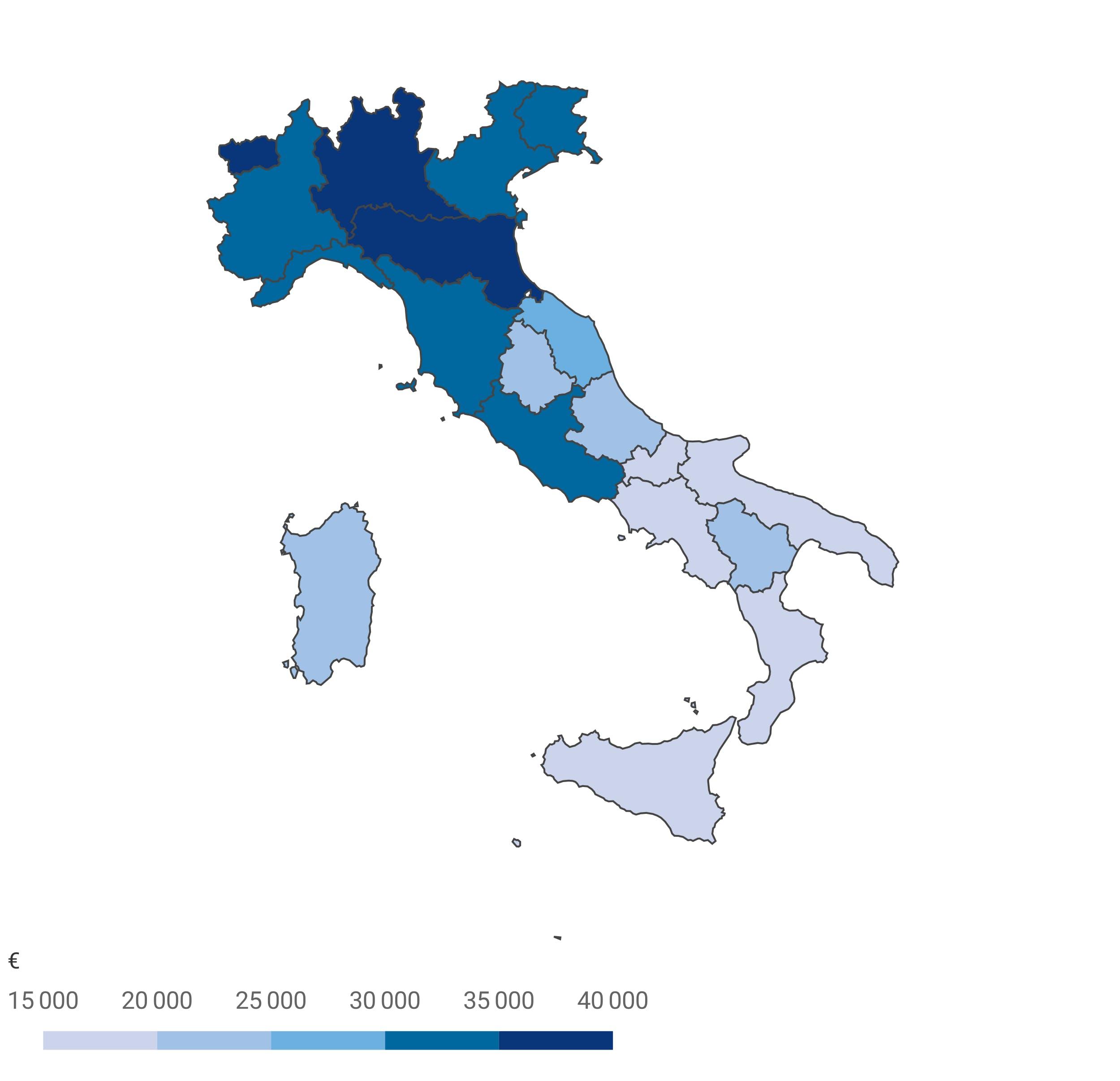 Prodotto Interno Lordo pro capite nelle regioni Italiane