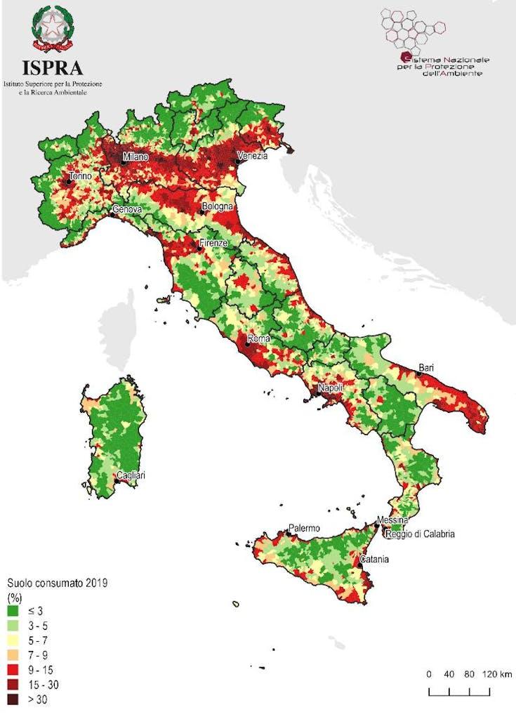 Percentuale del suolo consumato in Italia 2019